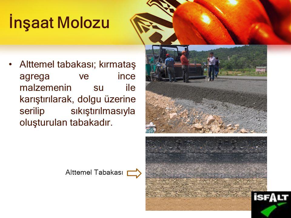 İnşaat Molozu Alttemel tabakası; kırmataş agrega ve ince malzemenin su ile karıştırılarak, dolgu üzerine serilip sıkıştırılmasıyla oluşturulan tabakad