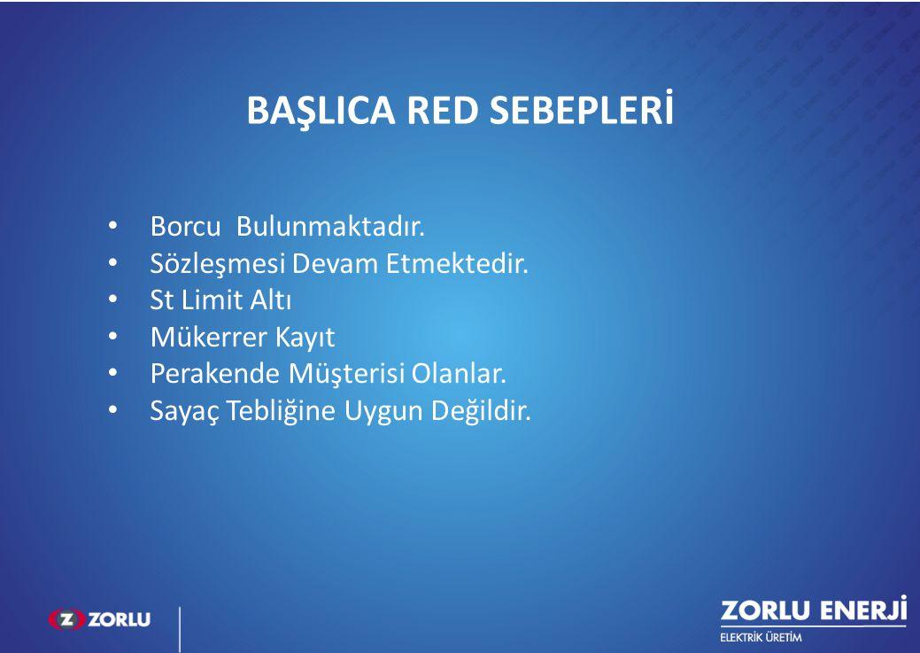 8 BAŞLICA RED SEBEPLERİ Borcu Bulunmaktadır. Sözleşmesi Devam Etmektedir. St Limit Altı Mükerrer Kayıt Perakende Müşterisi Olanlar. Sayaç Tebliğine Uy