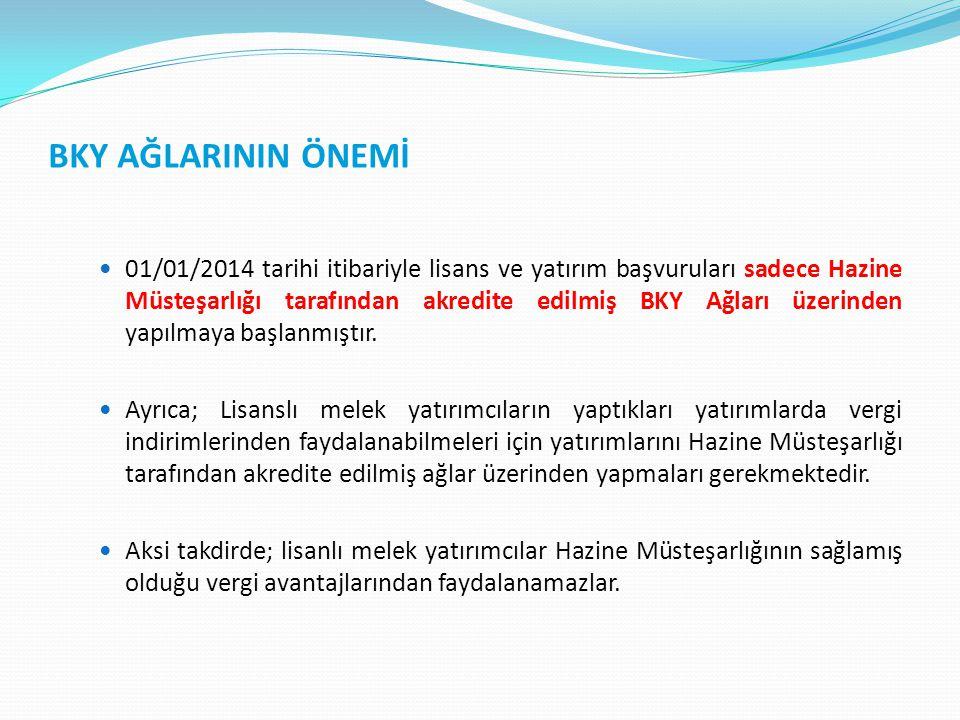 BKY AĞLARININ ÖNEMİ 01/01/2014 tarihi itibariyle lisans ve yatırım başvuruları sadece Hazine Müsteşarlığı tarafından akredite edilmiş BKY Ağları üzeri