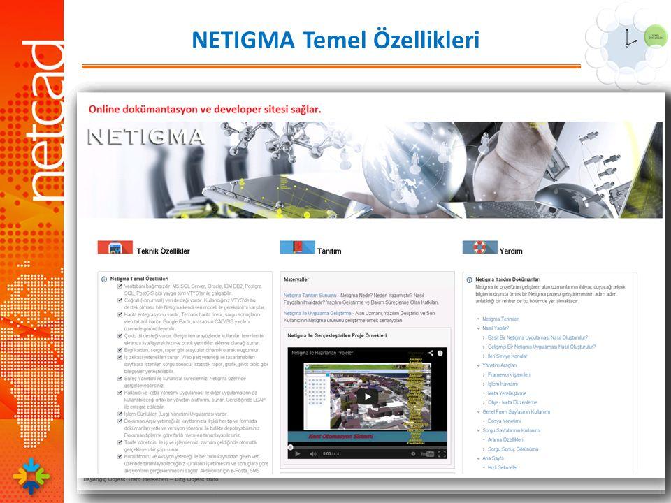 NETIGMA Temel Özellikleri Her zaman ve her katmanda yazılımcılara tam açık mimari sağlar.