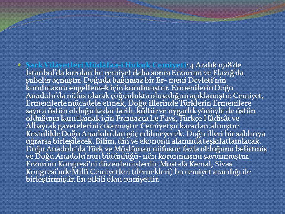 Şark Vilâyetleri Müdâfaa-i Hukuk Cemiyeti: 4 Aralık 1918'de İstanbul'da kurulan bu cemiyet daha sonra Erzurum ve Elazığ'da şubeler açmıştır. Doğuda ba