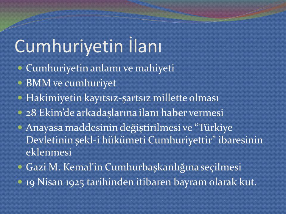Cumhuriyetin İlanı Cumhuriyetin anlamı ve mahiyeti BMM ve cumhuriyet Hakimiyetin kayıtsız-şartsız millette olması 28 Ekim'de arkadaşlarına ilanı haber