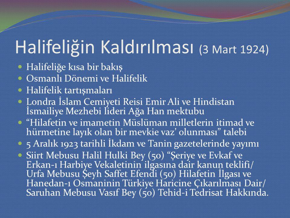 Halifeliğin Kaldırılması (3 Mart 1924) Halifeliğe kısa bir bakış Osmanlı Dönemi ve Halifelik Halifelik tartışmaları Londra İslam Cemiyeti Reisi Emir A
