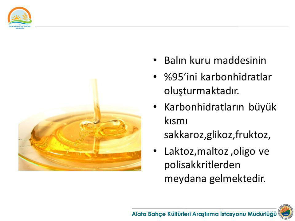 Balın kuru maddesinin %95'ini karbonhidratlar oluşturmaktadır.