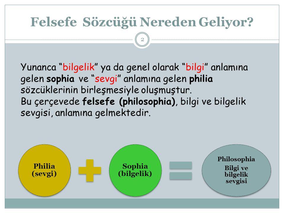 """Felsefe Sözcüğü Nereden Geliyor? Philia (sevgi) Sophia (bilgelik) Philosophia Bilgi ve bilgelik sevgisi Yunanca """"bilgelik"""" ya da genel olarak """"bilgi"""""""