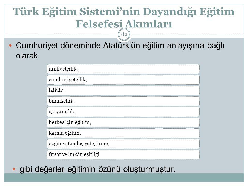 Türk Eğitim Sistemi'nin Dayandığı Eğitim Felsefesi Akımları milliyetçilik,cumhuriyetçilik,laiklik,bilimsellik,işe yararlık,herkes için eğitim,karma eğitim,özgür vatandaş yetiştirme,fırsat ve imkân eşitliği Cumhuriyet döneminde Atatürk'ün eğitim anlayışına bağlı olarak gibi değerler eğitimin özünü oluşturmuştur.