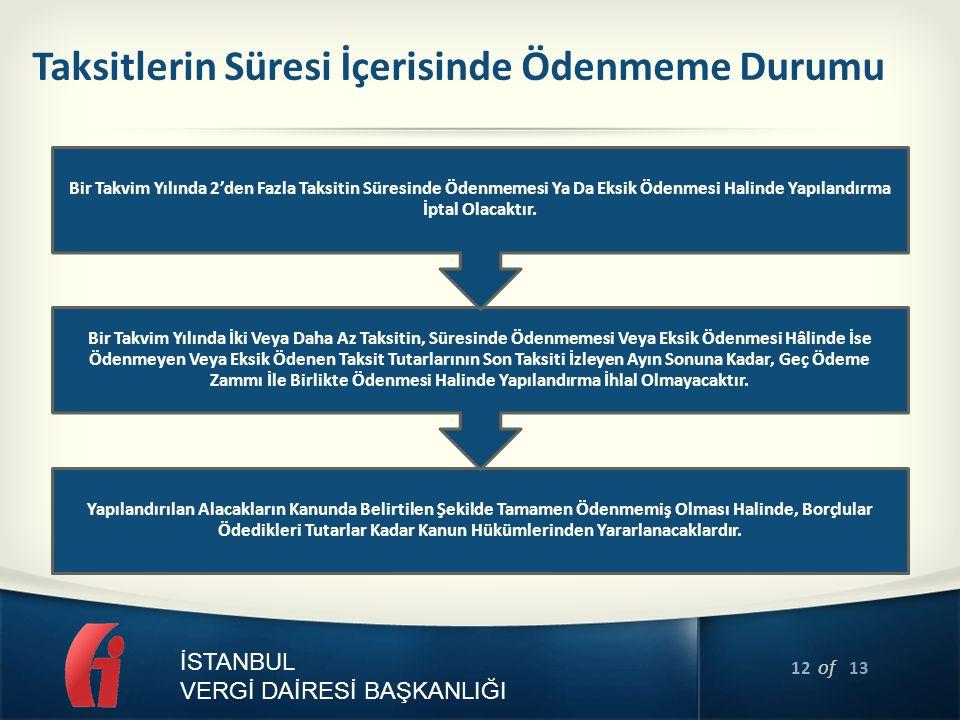 12 of 13 İSTANBUL VERGİ DAİRESİ BAŞKANLIĞI Taksitlerin Süresi İçerisinde Ödenmeme Durumu Yapılandırılan Alacakların Kanunda Belirtilen Şekilde Tamamen