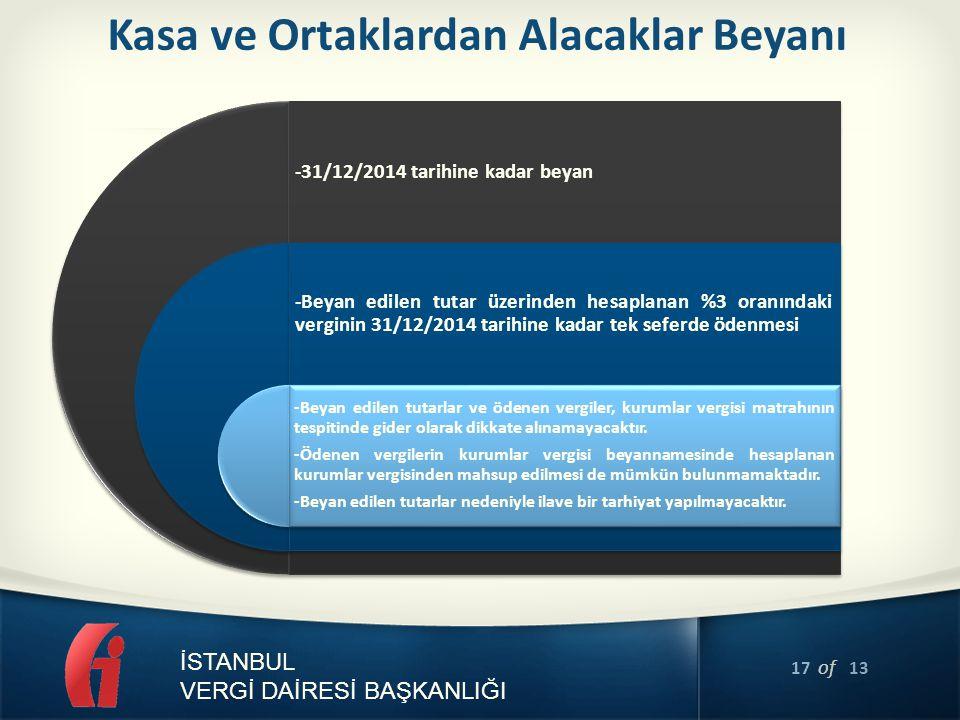 17 of 13 İSTANBUL VERGİ DAİRESİ BAŞKANLIĞI Kasa ve Ortaklardan Alacaklar Beyanı -31/12/2014 tarihine kadar beyan -Beyan edilen tutar üzerinden hesapla