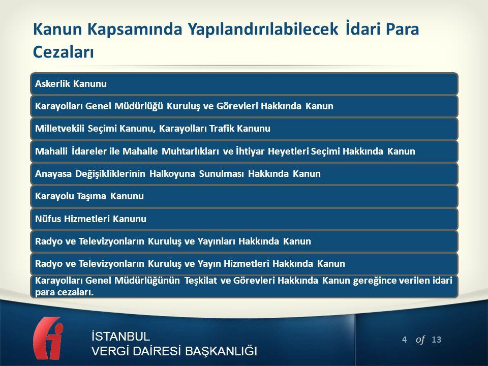 5 of 13 İSTANBUL VERGİ DAİRESİ BAŞKANLIĞI Kanun Kapsamında Olmayan Alacaklar Kanun metninde sayılanların dışında kalan ve Maliye Bakanlığına bağlı tahsil dairelerince 6183 sayılı Kanun kapsamında takip edilen adli ve idari para cezaları, Petrol Kanununa istinaden alınan Devlet hissesi ve Devlet hakkı,Türk Petrol Kanununa istinaden alınan Devlet hissesi, Şeker Kanununa istinaden alınan şeker fiyat farkı, Milli Korunma Suçlarının Affına, Milli Korunma Teşkilat, Sermaye ve Fon Hesaplarının Tasfiyesine ve Bazı Hükümler İhdasına Dair Kanuna istinaden alınan akaryakıt fiyat istikrar payı ve akaryakıt fiyat farkı, Maden Kanununa istinaden alınan Devlet hakkı,Özel idare payı ile madencilik fonu,Denizcilik Müsteşarlığının Kuruluş ve Görevleri Hakkında Kanun Hükmünde Kararnameye, Ulaştırma, Denizcilik ve Haberleşme Bakanlığının Teşkilat ve Görevleri Hakkında Kanun Hükmünde Kararnameye istinaden alınan kılavuzluk ve römorkörcülük hizmet payları