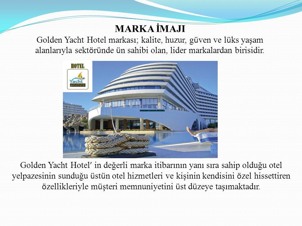 OTELİMİZİN VİZYONU Golden Yacht Hotel ' in vizyonunu oluşturan en ö nemli yapıtaşı, i ç inde bulunduğumuz turizm sekt ö r ü nde, y ü ksek kaliteli, s ü rekli ve mutlak m ü şteri memnuniyetidir.