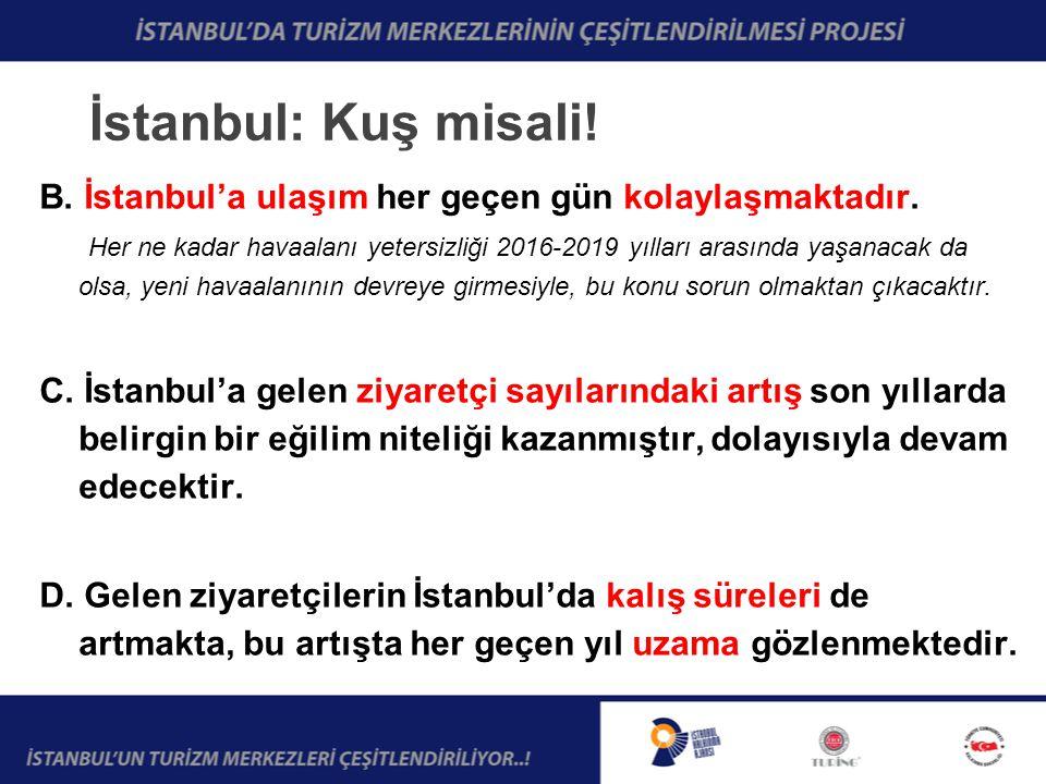 İstanbul: Kuş misali. B. İstanbul'a ulaşım her geçen gün kolaylaşmaktadır.
