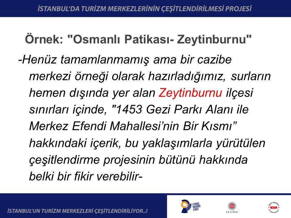 Örnek: Osmanlı Patikası- Zeytinburnu -Henüz tamamlanmamış ama bir cazibe merkezi örneği olarak hazırladığımız, surların hemen dışında yer alan Zeytinburnu ilçesi sınırları içinde, 1453 Gezi Parkı Alanı ile Merkez Efendi Mahallesi'nin Bir Kısmı hakkındaki içerik, bu yaklaşımlarla yürütülen çeşitlendirme projesinin bütünü hakkında belki bir fikir verebilir-