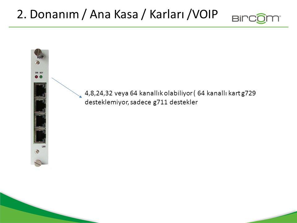 2. Donanım / Ana Kasa / Karları /VOIP 4,8,24,32 veya 64 kanallık olabiliyor ( 64 kanallı kart g729 desteklemiyor, sadece g711 destekler