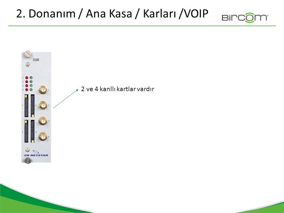 2. Donanım / Ana Kasa / Karları /VOIP 2 ve 4 kanllı kartlar vardır