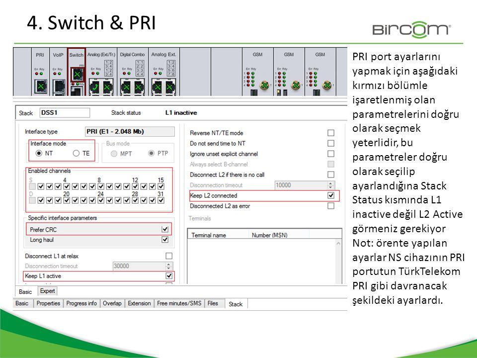 4. Switch & PRI PRI port ayarlarını yapmak için aşağıdaki kırmızı bölümle işaretlenmiş olan parametrelerini doğru olarak seçmek yeterlidir, bu paramet