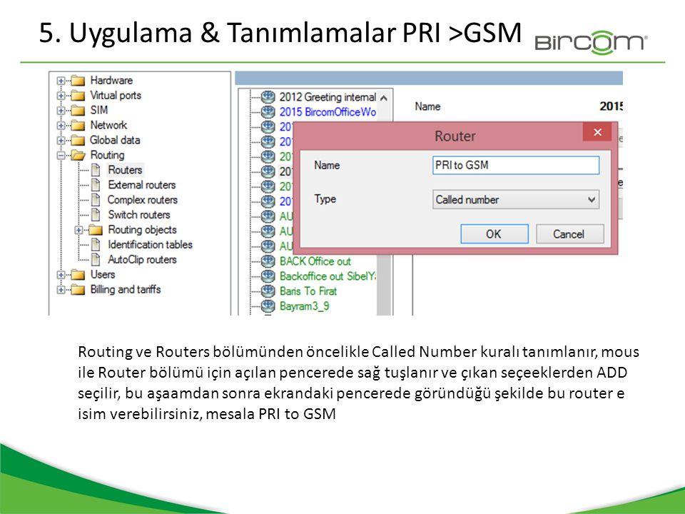 5. Uygulama & Tanımlamalar PRI >GSM Routing ve Routers bölümünden öncelikle Called Number kuralı tanımlanır, mous ile Router bölümü için açılan pencer