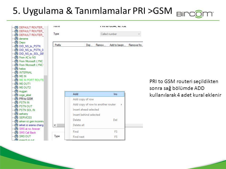 5. Uygulama & Tanımlamalar PRI >GSM PRI to GSM routeri seçildikten sonra sağ bölümde ADD kullanılarak 4 adet kural eklenir