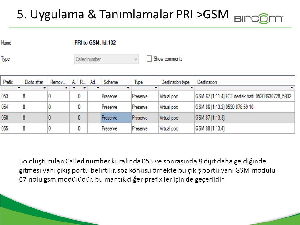 5. Uygulama & Tanımlamalar PRI >GSM Bo oluşturulan Called number kuralında 053 ve sonrasında 8 dijit daha geldiğinde, gitmesi yanı çıkış portu belirti