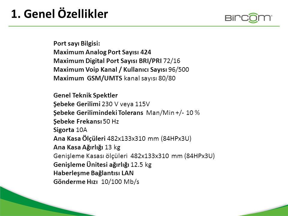 1. Genel Özellikler Port sayı Bilgisi: Maximum Analog Port Sayısı 424 Maximum Digital Port Sayısı BRI/PRI 72/16 Maximum Voip Kanal / Kullanıcı Sayısı