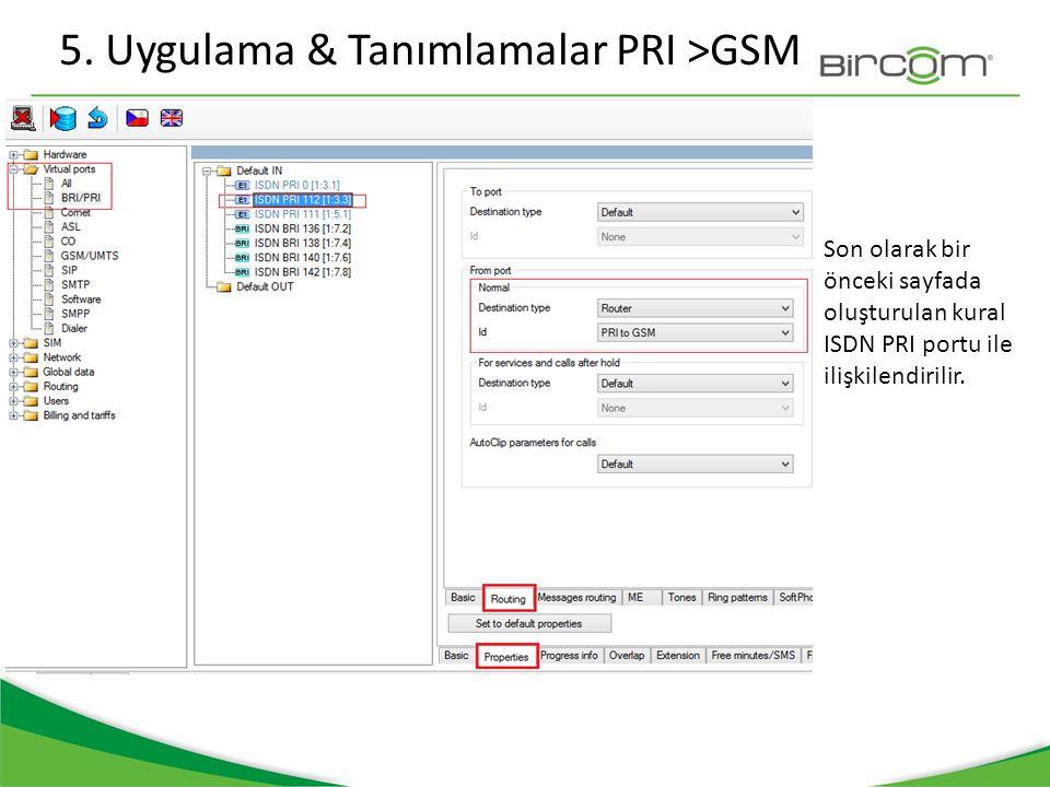 5. Uygulama & Tanımlamalar PRI >GSM Son olarak bir önceki sayfada oluşturulan kural ISDN PRI portu ile ilişkilendirilir.