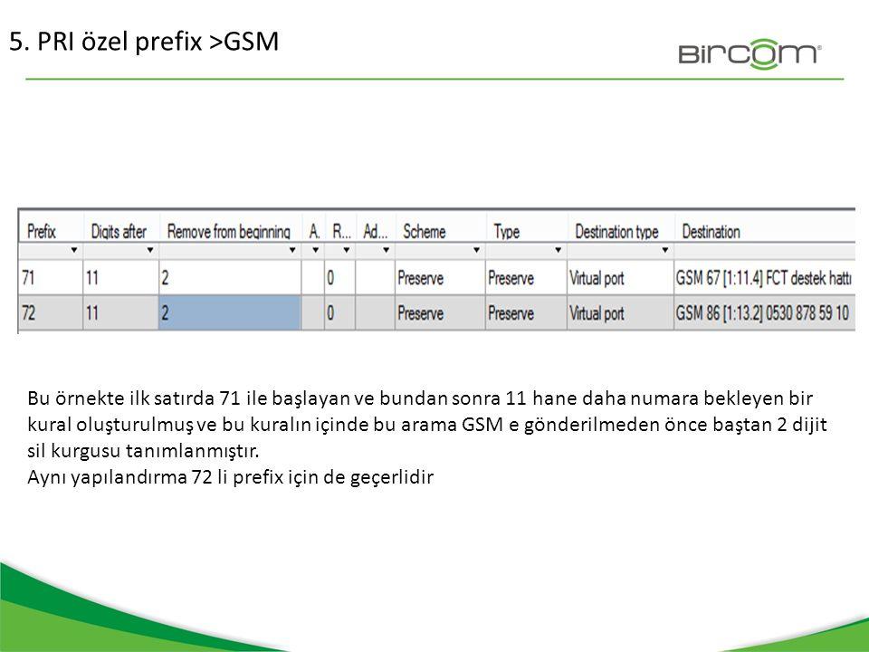 5. PRI özel prefix >GSM Bu örnekte ilk satırda 71 ile başlayan ve bundan sonra 11 hane daha numara bekleyen bir kural oluşturulmuş ve bu kuralın içind
