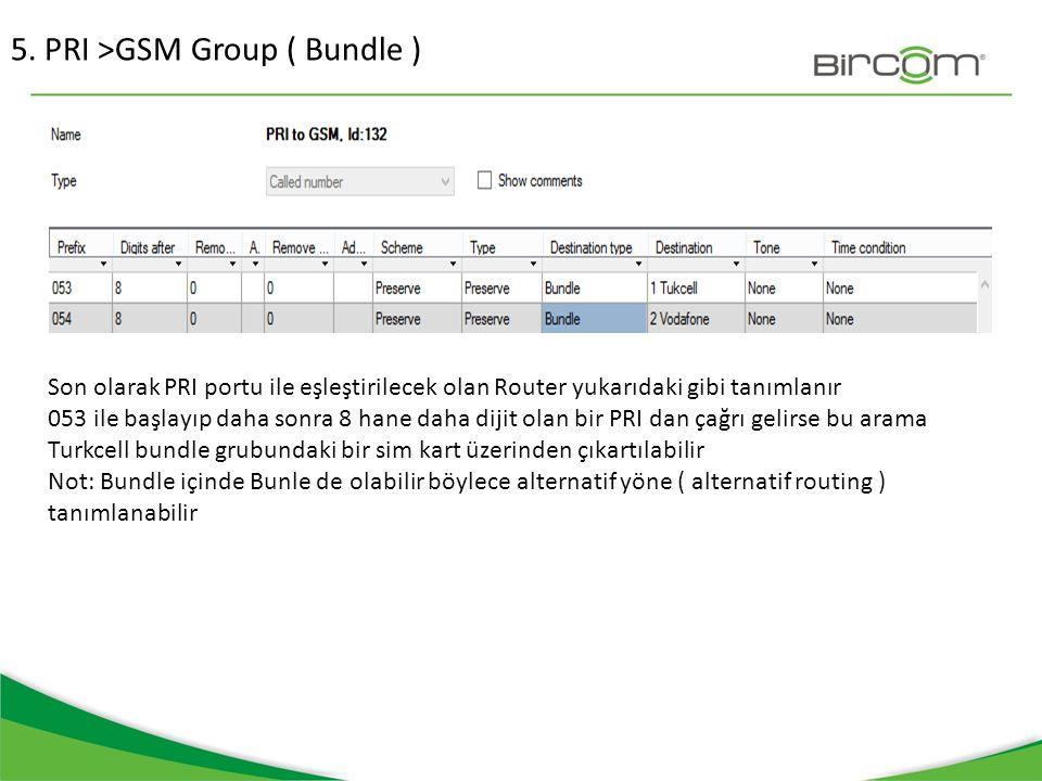 5. PRI >GSM Group ( Bundle ) Son olarak PRI portu ile eşleştirilecek olan Router yukarıdaki gibi tanımlanır 053 ile başlayıp daha sonra 8 hane daha di