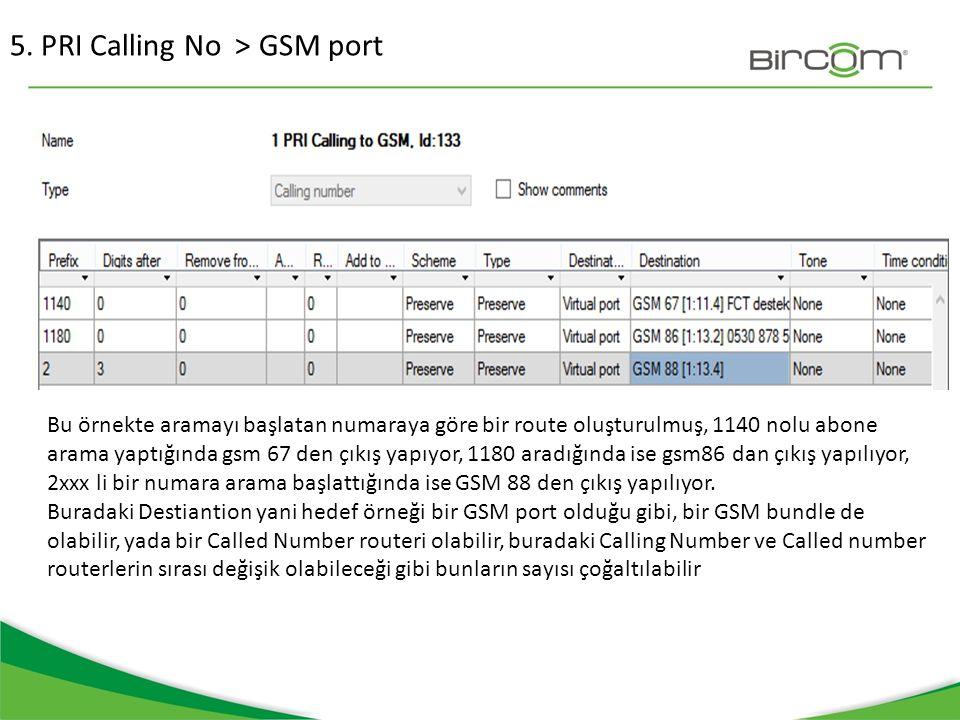 5. PRI Calling No > GSM port Bu örnekte aramayı başlatan numaraya göre bir route oluşturulmuş, 1140 nolu abone arama yaptığında gsm 67 den çıkış yapıy