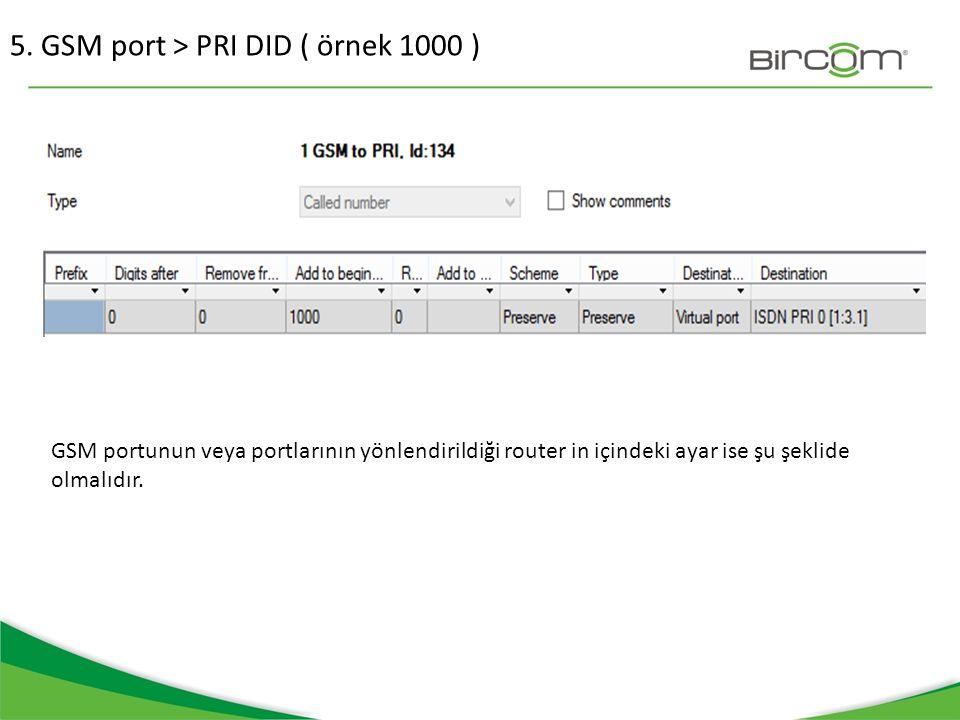 5. GSM port > PRI DID ( örnek 1000 ) GSM portunun veya portlarının yönlendirildiği router in içindeki ayar ise şu şeklide olmalıdır.