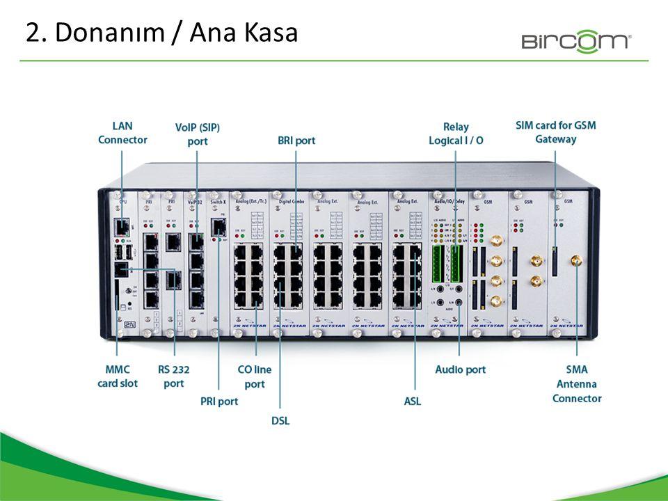 2N Netstar Ana asa üzerinde 3 adet VOIP ve PRI kart slotu ve 9 adet diğer çeşit karların takılması için boş slot bulunur.