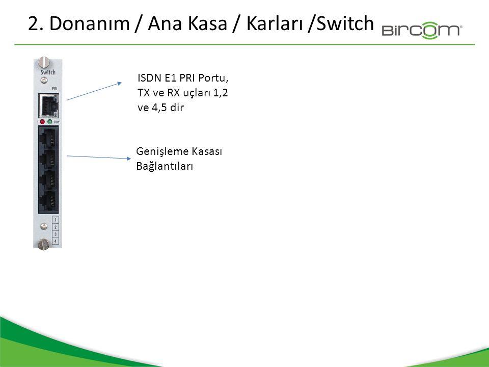 2. Donanım / Ana Kasa / Karları /Switch ISDN E1 PRI Portu, TX ve RX uçları 1,2 ve 4,5 dir Genişleme Kasası Bağlantıları
