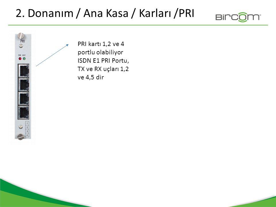 2. Donanım / Ana Kasa / Karları /PRI PRI kartı 1,2 ve 4 portlu olabiliyor ISDN E1 PRI Portu, TX ve RX uçları 1,2 ve 4,5 dir