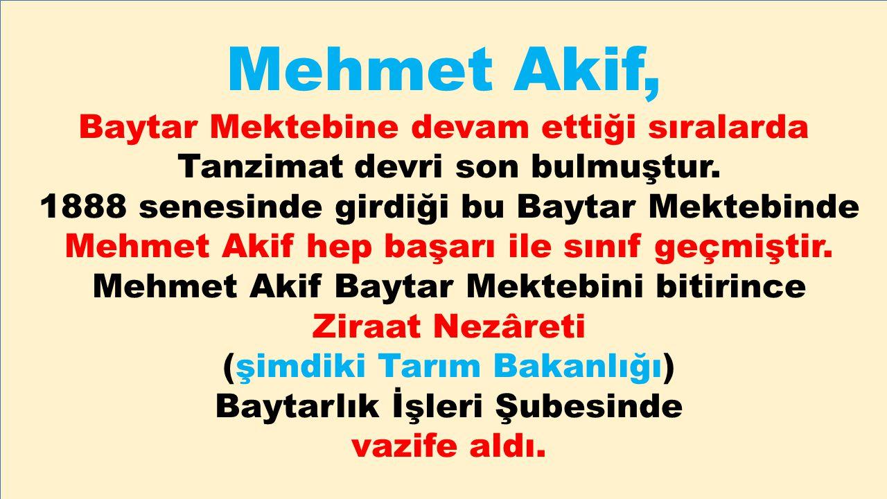 Mehmet Akif, Baytar Mektebine devam ettiği sıralarda Tanzimat devri son bulmuştur. 1888 senesinde girdiği bu Baytar Mektebinde Mehmet Akif hep başarı