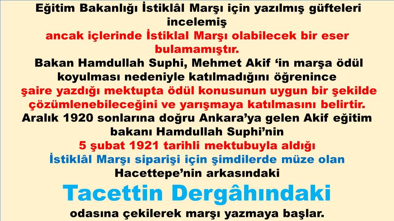Eğitim Bakanlığı İstiklâl Marşı için yazılmış güfteleri incelemiş ancak içlerinde İstiklal Marşı olabilecek bir eser bulamamıştır. Bakan Hamdullah Sup