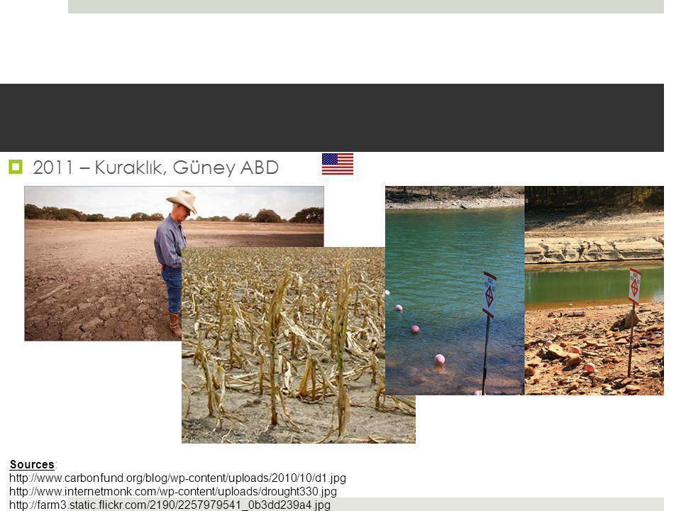  2011 – Kuraklık, Güney ABD Sources: http://www.carbonfund.org/blog/wp-content/uploads/2010/10/d1.jpg http://www.internetmonk.com/wp-content/uploads/drought330.jpg http://farm3.static.flickr.com/2190/2257979541_0b3dd239a4.jpg