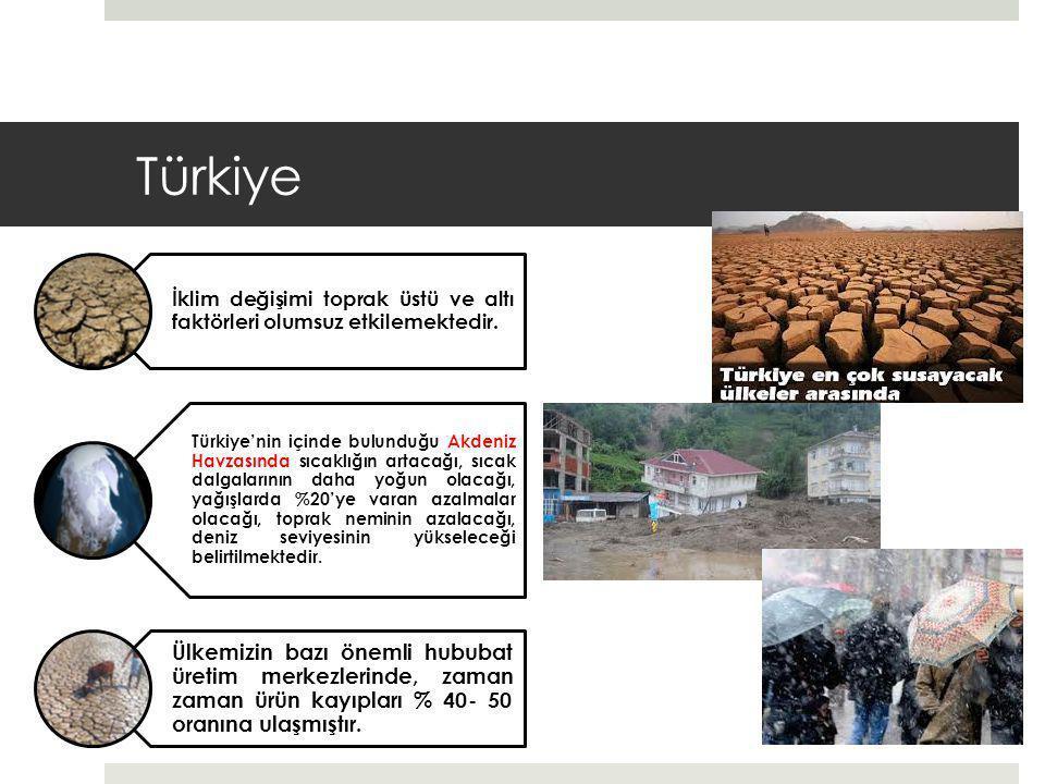 Türkiye İklim değişimi toprak üstü ve altı faktörleri olumsuz etkilemektedir.