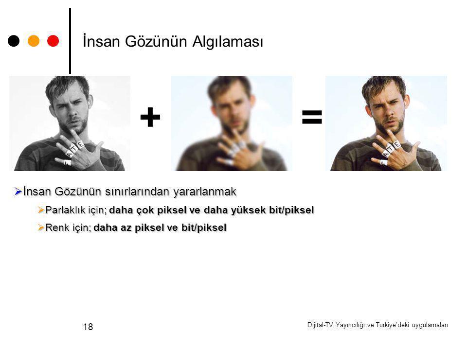 Dijital-TV Yayıncılığı ve Türkiye'deki uygulamaları 18 İnsan Gözünün Algılaması +  İnsan Gözünün sınırlarından yararlanmak  Parlaklık için; daha çok