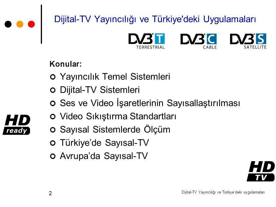 Dijital-TV Yayıncılığı ve Türkiye'deki uygulamaları 2 Dijital-TV Yayıncılığı ve Türkiye'deki Uygulamaları Konular: Yayıncılık Temel Sistemleri Dijital