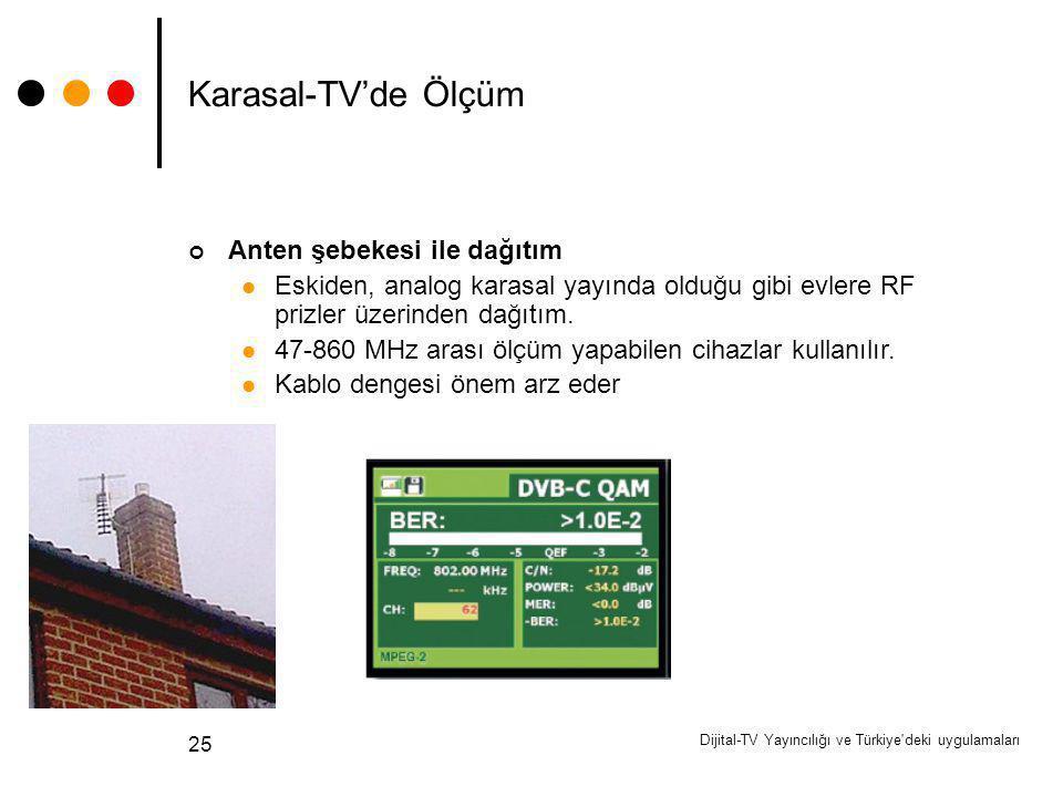 Dijital-TV Yayıncılığı ve Türkiye'deki uygulamaları 25 Karasal-TV'de Ölçüm Anten şebekesi ile dağıtım Eskiden, analog karasal yayında olduğu gibi evle