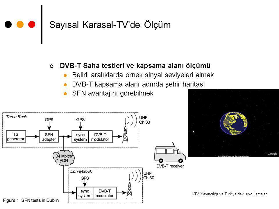 Dijital-TV Yayıncılığı ve Türkiye'deki uygulamaları 26 Sayısal Karasal-TV'de Ölçüm DVB-T Saha testleri ve kapsama alanı ölçümü Belirli aralıklarda örn