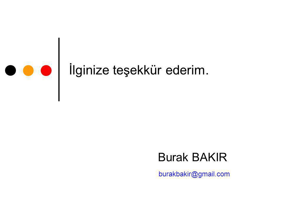 İlginize teşekkür ederim. Burak BAKIR burakbakir@gmail.com