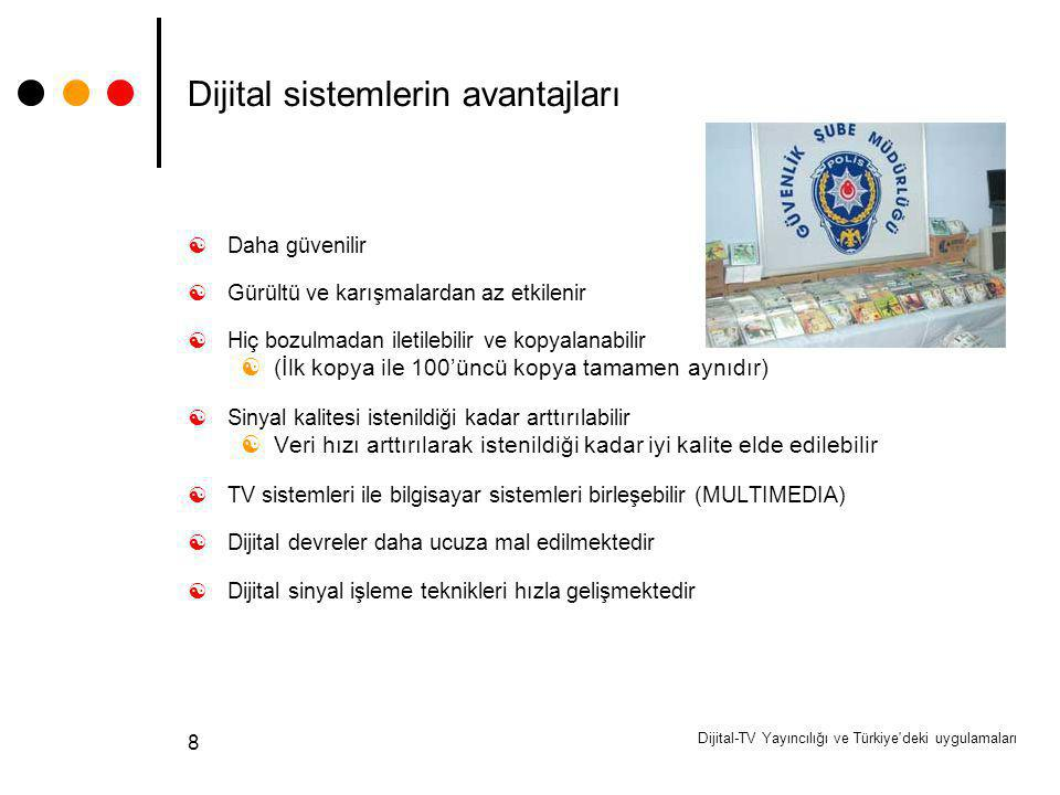 Dijital-TV Yayıncılığı ve Türkiye'deki uygulamaları 8 Dijital sistemlerin avantajları  Daha güvenilir  Gürültü ve karışmalardan az etkilenir  Hiç b