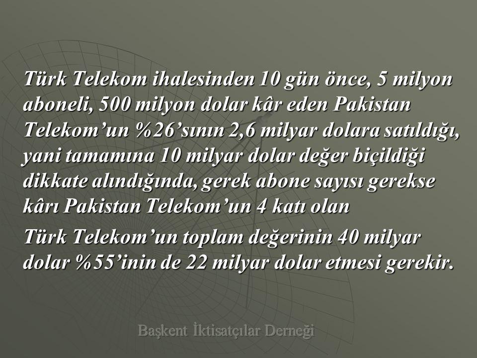 Türk Telekom'u yeniden oluşturmaya çalışsanız;  Yer altı Şebekeleri,  Santralleri,  Gayrimenkulleri,  Yer altı kazı ruhsat bedelleri, kamulaştırma bedelleri,  Abone edinim maliyeti,  Personel eğitim gideri vb..