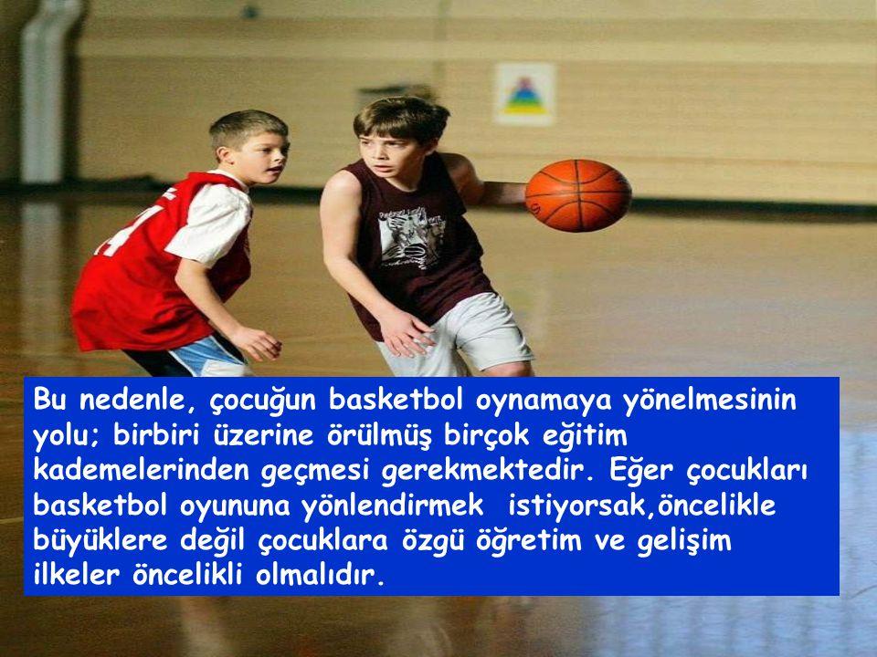 Çocuğa, basketbol oyunu için gerekli olan yalnızca saha, pota ve top gibi olanakları sunmak yeterli değildir.