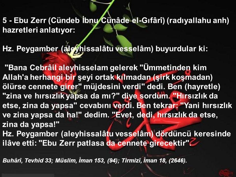 5 - Ebu Zerr (Cündeb İbnu Cünâde el-Gıfârî) (radıyallahu anh) hazretleri anlatıyor: Hz.