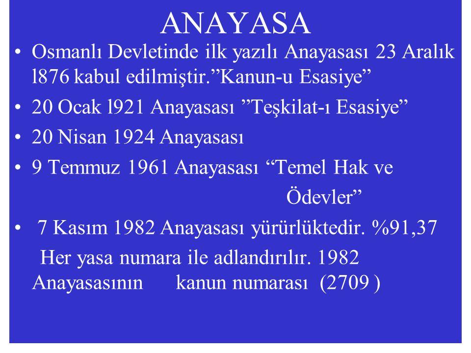 """ANAYASA Osmanlı Devletinde ilk yazılı Anayasası 23 Aralık l876 kabul edilmiştir.""""Kanun-u Esasiye"""" 20 Ocak l921 Anayasası """"Teşkilat-ı Esasiye"""" 20 Nisan"""