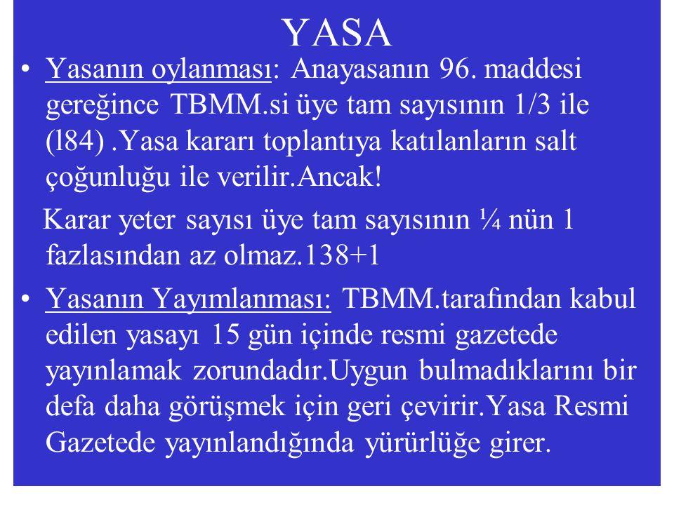 YASA Yasanın oylanması: Anayasanın 96. maddesi gereğince TBMM.si üye tam sayısının 1/3 ile (l84).Yasa kararı toplantıya katılanların salt çoğunluğu il