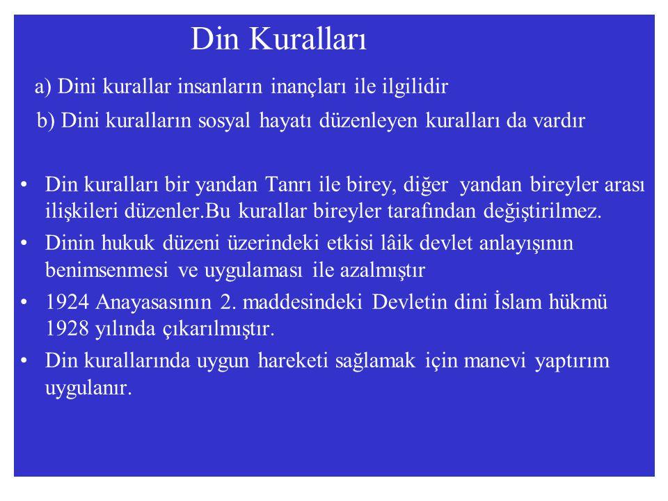 Din Kuralları a) Dini kurallar insanların inançları ile ilgilidir b) Dini kuralların sosyal hayatı düzenleyen kuralları da vardır Din kuralları bir ya