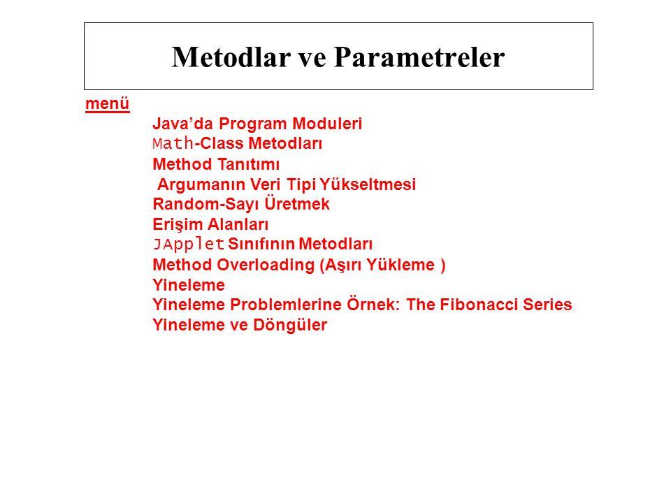 Metodlar ve Parametreler menü Java'da Program Moduleri Math -Class Metodları Method Tanıtımı Argumanın Veri Tipi Yükseltmesi Random-Sayı Üretmek Erişi