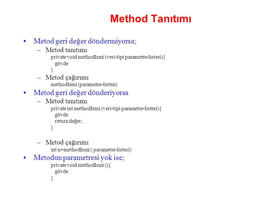 Method Tanıtımı Metod geri değer döndermiyorsa; –Metod tanıtımı private void methodIsmi (veri-tipi parametre-listesi){ gövde } –Metod çağırımı methodI