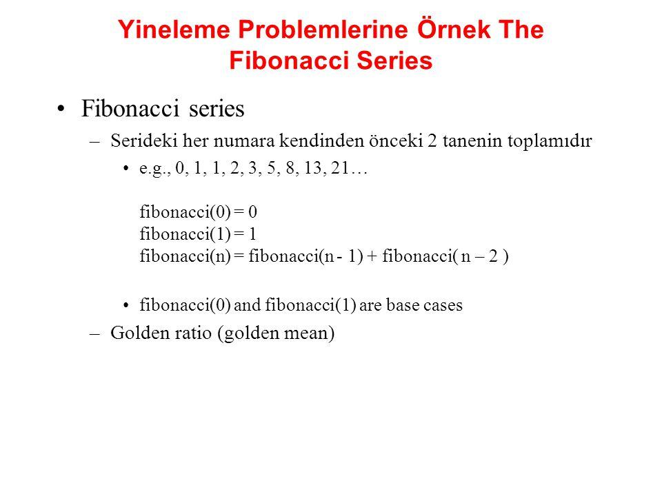Yineleme Problemlerine Örnek The Fibonacci Series Fibonacci series –Serideki her numara kendinden önceki 2 tanenin toplamıdır e.g., 0, 1, 1, 2, 3, 5,